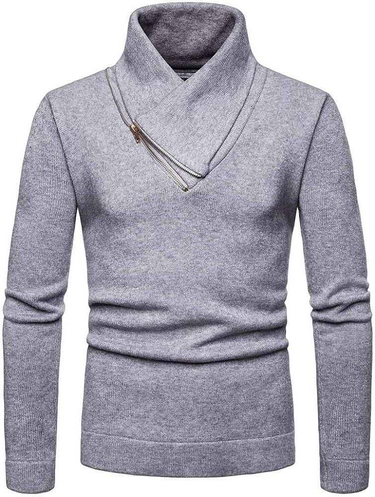 EOZY Jersey de Cuello Alto Hombre Camisa Suéter de Punto Casual con Cremallera Otoño Gris M/Busto 42.52in: Amazon.es: Ropa y accesorios
