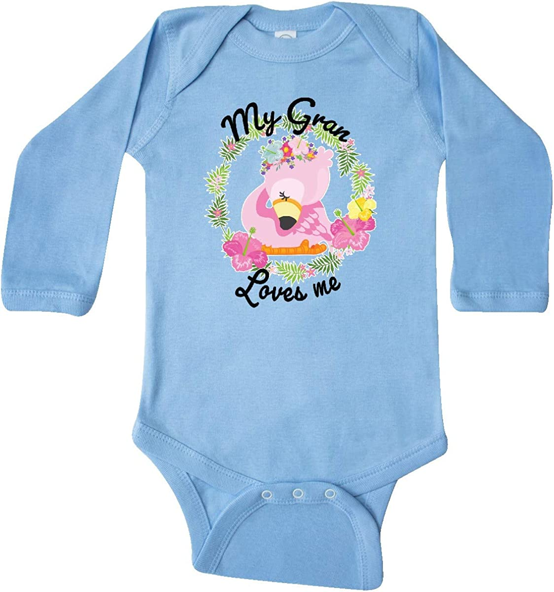 inktastic Baby Flamingo My Gran Loves Me with Flower Wreath Long Sleeve Creeper