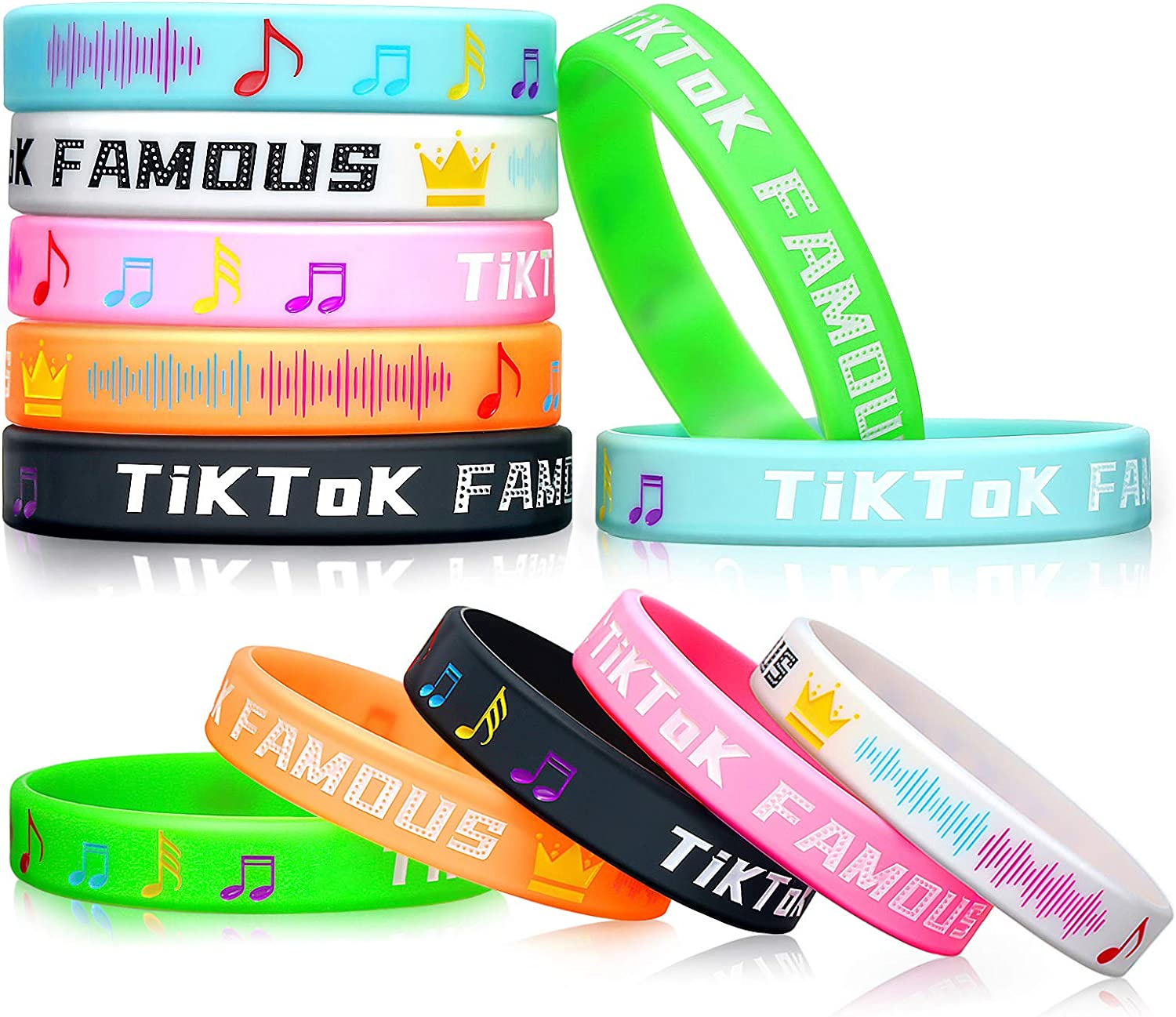 TikTok Themed Birthday Party Supplies Favors Decorations DIY Gifts Set 12 Bracelets 12 Button Pins 50 Stickers for Girls Boys Adults Music Fans Kids 74 Pack