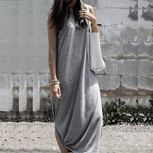 4b3a47d4c57 TOPUNDER Summer Solid Long Maxi Dress for Women High Neck Sleeveless Dressy  Dresses Beach at Amazon Women s Clothing store