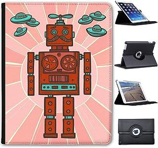 Fancy A Snuggle Robot Hipster Rétro Case Cover/Folio en Simili Cuir pour Le Apple iPad iPad Pro 9.7' Roboter Schnurrbart Funky & Herzen