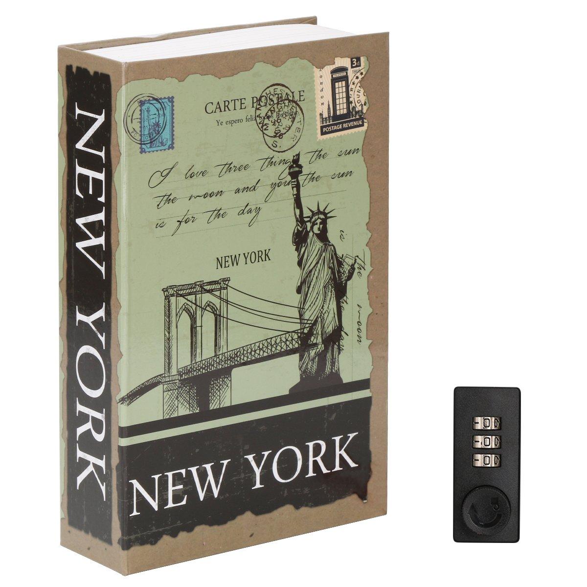 Diversion Book Safe with Combination Lock, Decaller Safe Secret Hidden Metal Lock Box, 9 1/2'' x 6'' x 1 1/3'', New York