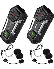SUAOKI【2018 Nouvelle Génération】Intercom Moto Bluetooth T10 2PCS Casque Kit Moto Jusqu'à 3 Cavaliers de Communication Main libre Ecouteur Avec 2 Paires de Micros Pour Moto/Vélo/VTT/Voiture (Double)