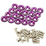 JDMSPEED 20 Pcs Purple CNC Billet Aluminum Fender