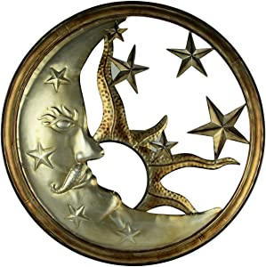 Mayrich Bronze and Antique Silver Metal Art Sun Moon and Stars Indoor Outdoor Wall Decor