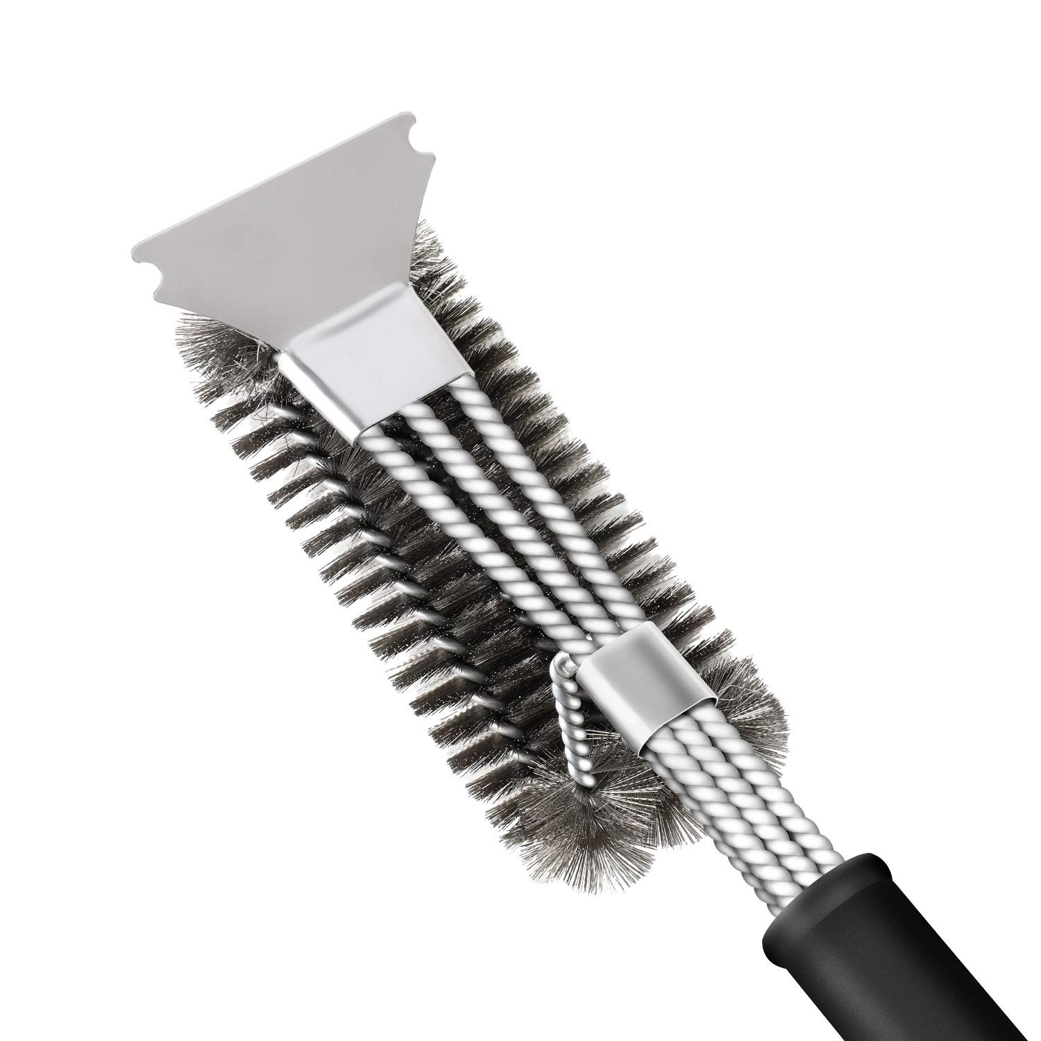 Grill Brush and Scraper, SAELLEAS 3-in-1 BBQ Brush for Grill 18 Inch Stainless Steel Barbecue Cleaner Bristles Free Grill Scrubber for Charcoal Porcelain/Ceramic/Iron/Steel Grill Grates by Feeke