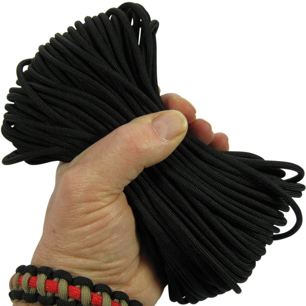 MilSpec Paracord Black 510 ft. Spool, Military Survival Braided Parachute 550 Cord. Use with Paracord Tools for Tent Camping, Hiking, Hunting Ropes, Bracelets & Projects. Plus 2 eBooks.