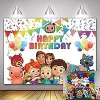 Cartoon Leuke Watermeloen Familie Achtergronden Kleurrijke Ballonnen Achtergrond Gelukkig Verjaardag Feest Banner…