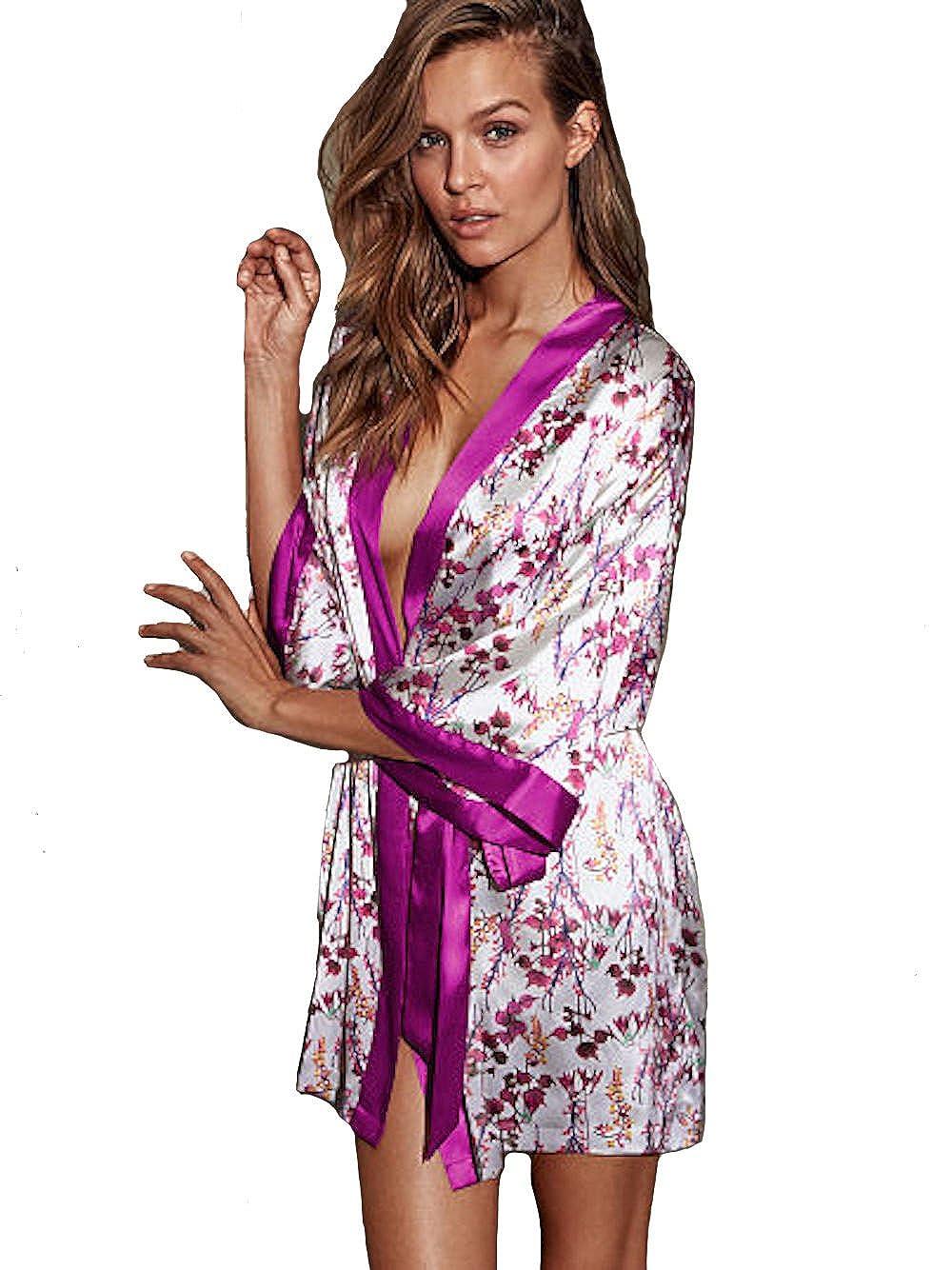 Victoria s Secret Satin Floral Kimono Robe M L at Amazon Women s Clothing  store  011313a17
