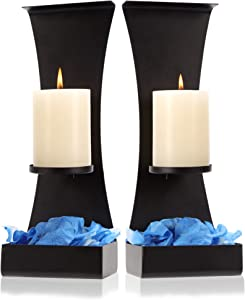 Lumera Lights - Metal Wall Candle Sconces Wall Decor Set of 2 - Wall Candle Holders Decorative Set of 2 - Metal Wall Decorations For Living Room - Black Metal Wall Sconces Set of Two Candle Holders
