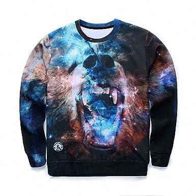 Crochi 3D Tie Dye Skull Printed Sweatshirt Men Hip Hop Fashion Harajuku Mens Hoodies and Sweatshirts