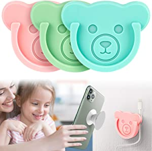 Car Grips Mount for Phone Stand Cute Bear Style Silicone Phone Holder with Phone line Clasp for Collapsible Grip/Socket Mount User Used on Dashboard, Home, Office, Kitchen, Desk, Wall (3 Colors)