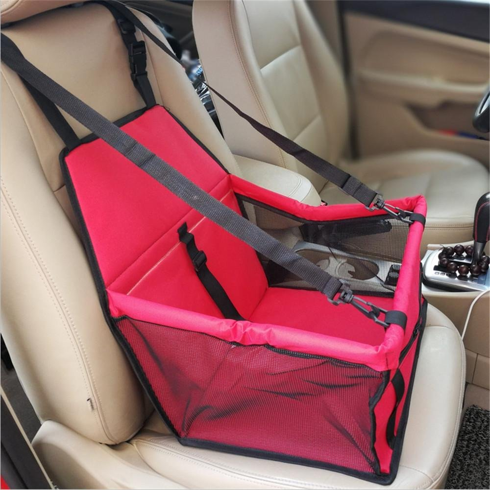 6 Car Booster Seat Carrier for Dog Folding Pet Cat Car Travel Safety Seat Belt Harness Cover Pet Traveling Carrier Bag Portable with Clip-On Safety Leash
