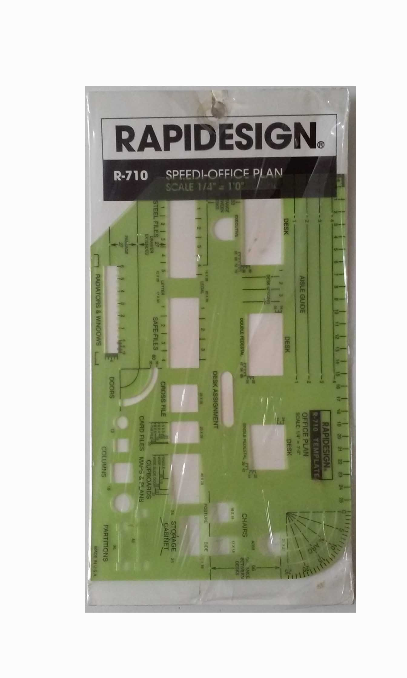 Berol(R) RapiDesign(R), R-710, Speedi-Office Plan, Scale 1/4'' = 1' 0'', 5 1/8'' x 8'', Made in the USA by RAPIDESIGN (Image #2)