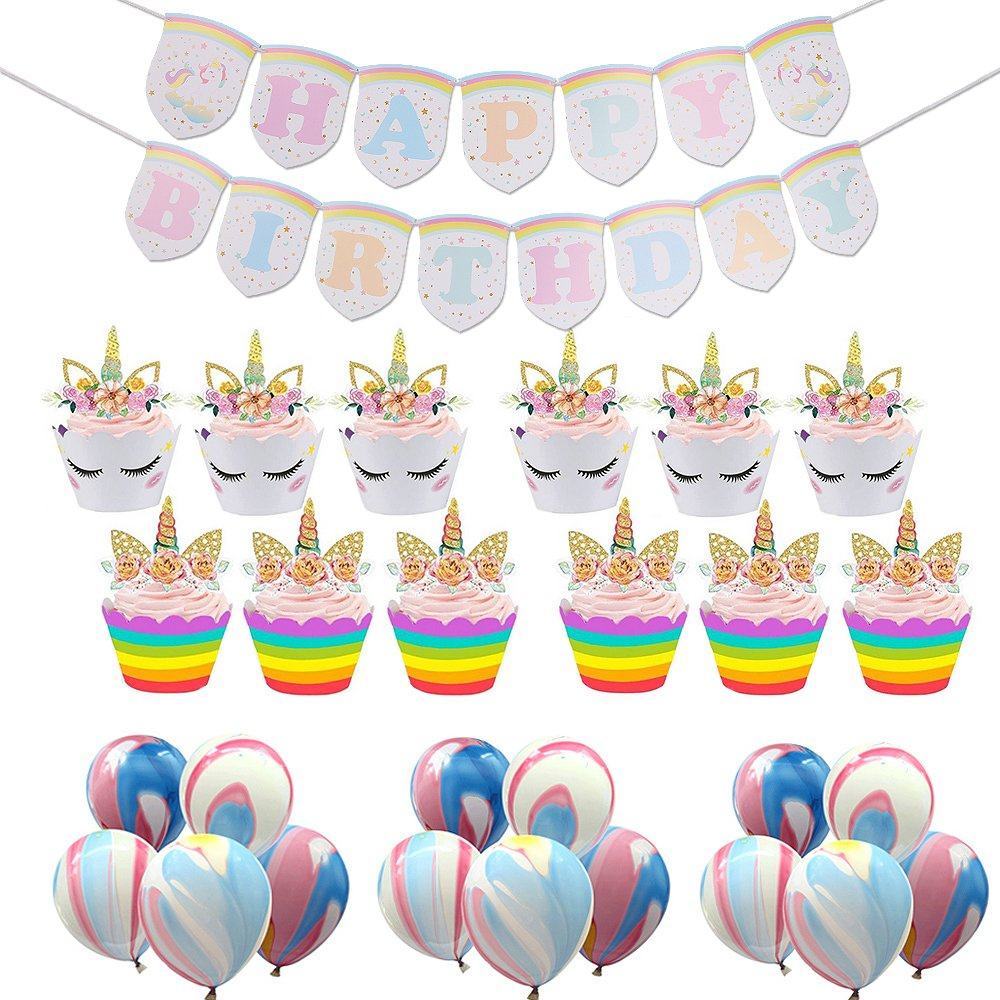 AmyHomie Birthday Party Supplies Set with Cupcake Toppers & Wrappers Happy Birhday Banner and Agate Balloons, Unicorn Themed Party Favors Supplies Decoration Kit (40Pcs)
