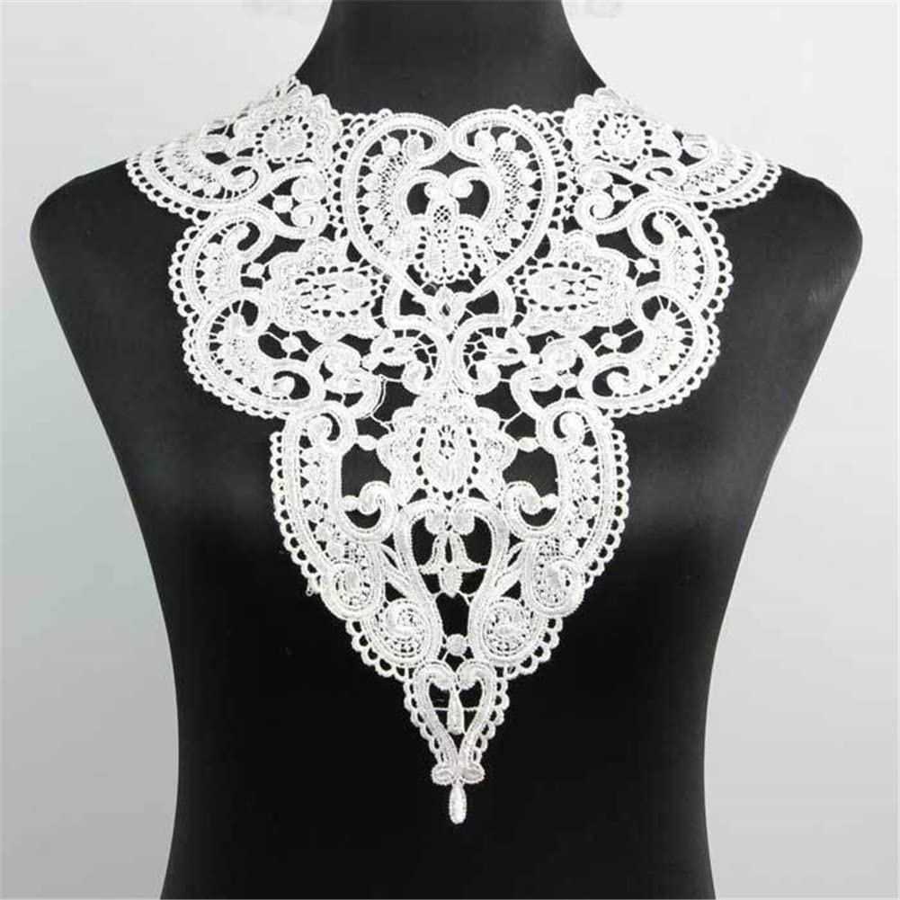 1 Pc Classic Flower Neckline Lace Collar Charming Sewing Wedding Applique Black