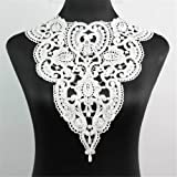 1 Pc Classic Flower Neckline Lace Collar Charming Sewing Wedding Applique White