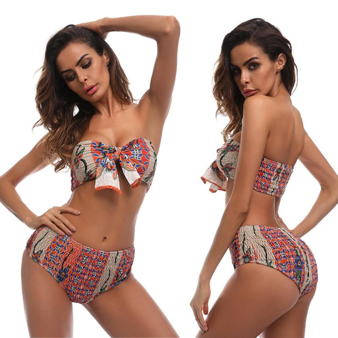 Fheaven Women Off Shoulder Swimwear Bikini Set Bohemia Print Bow Swimsuit Bathing (M, Multicolor) by Fheaven
