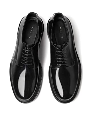 25754af7403 Zara Men's Black Leather Shoes with a Glossy Finish 5414/302: Amazon.co.uk:  Shoes & Bags