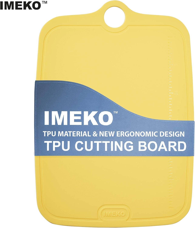 IMEKO TPU Cutting Board BPA FREE Knife Friendly Flexible Dishwasher Safe Space Saving Ergonomic Design Chopping Mat (YELLOW -3 Sizes Set: Large Medium Small)