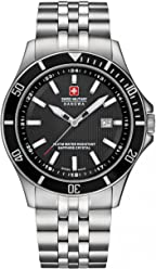 Swiss Military Hanowa Mens Flagship 42mm Steel Bracelet & Case Quartz Black Dial Watch 06-