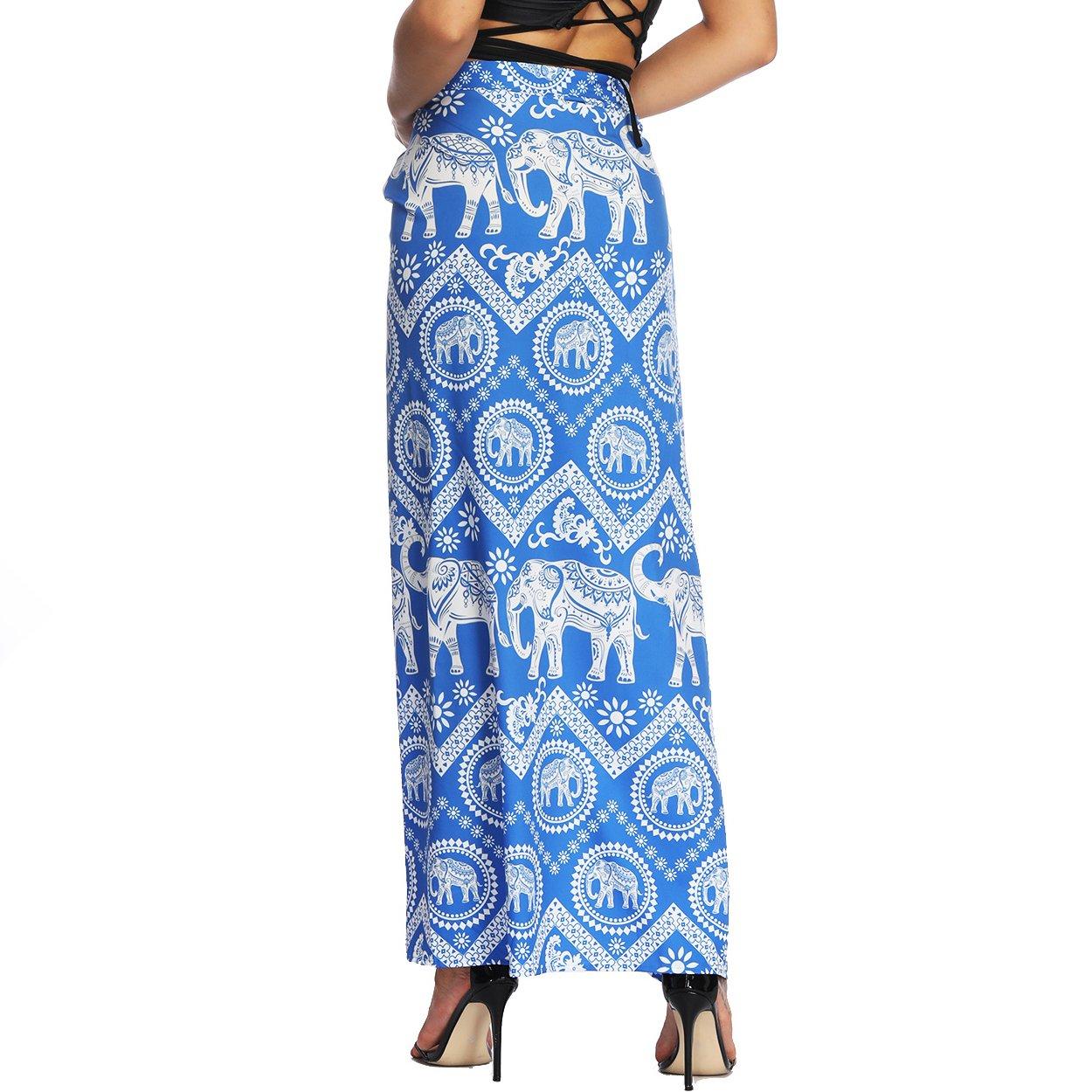 Nuofengkudu Mujer Falda Larga Hippie Gitana Amarra la Cintura Alta Boho Patrón De Estilo Tailandés Faldas de Playa Fiesta Casual Skirts Azul Elefante: ...