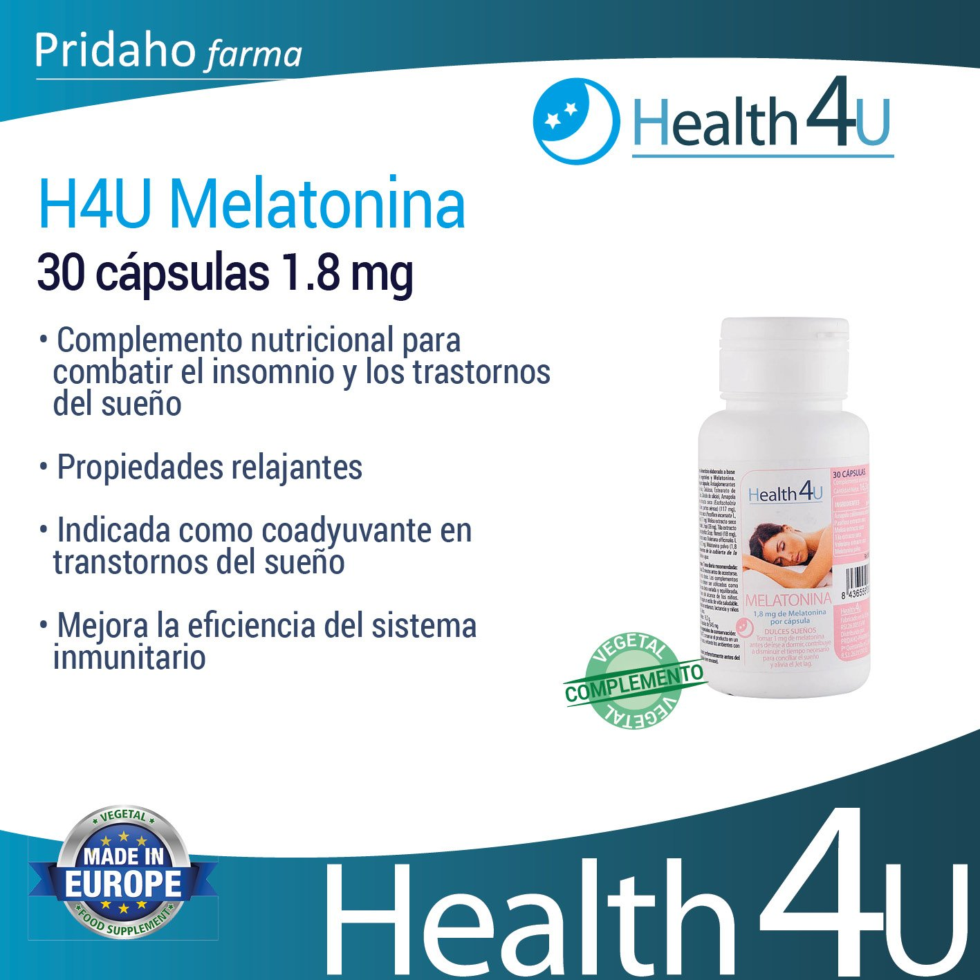 H4U - H4U Melatonina 30 cápsulas 1.8 mg