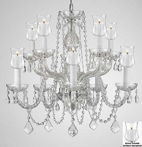 Amazing Crystal Chandelier Lighting Chandeliers W/ Candle Votives H25u0026quot; X  W24u0026quot;  For Indoor