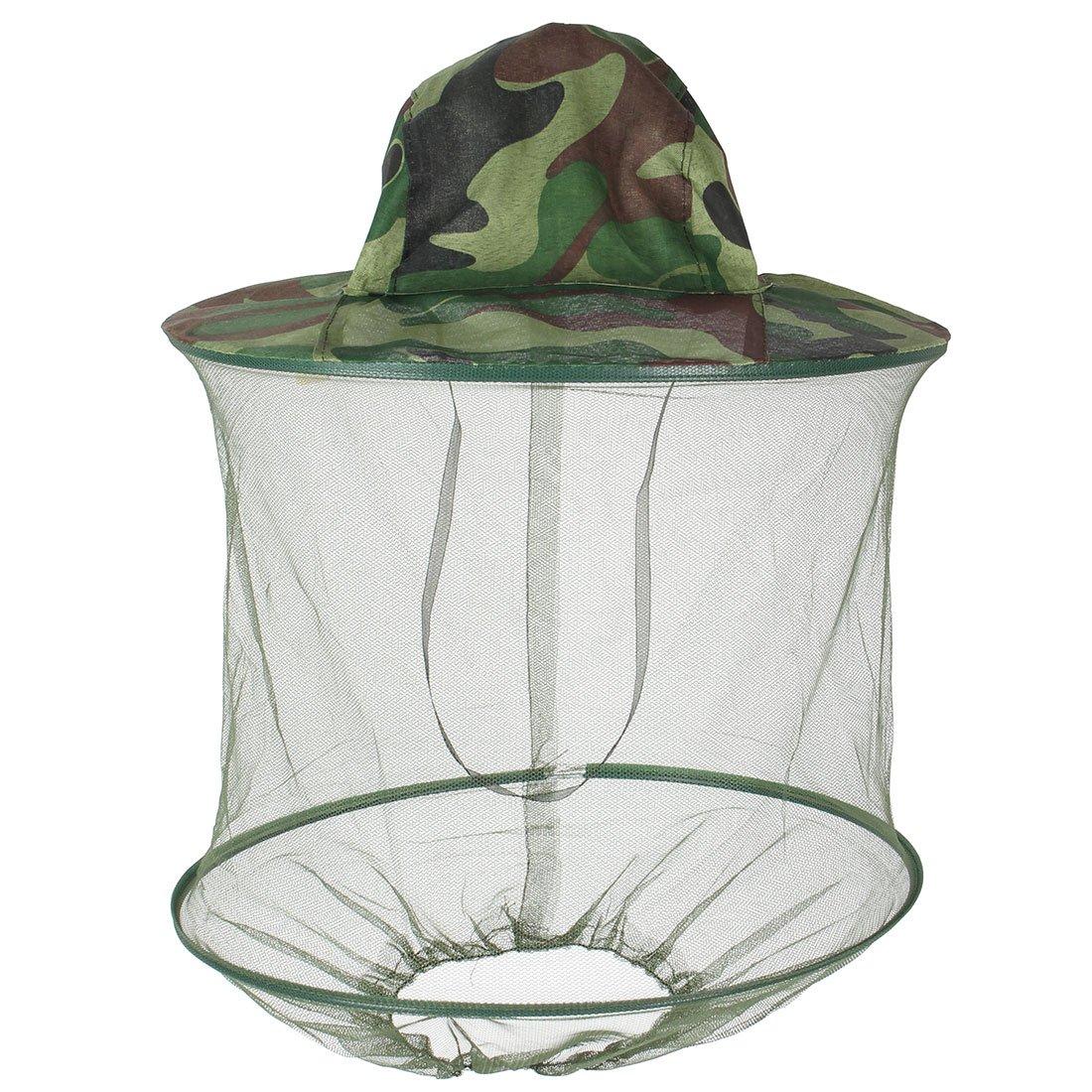 Cappello verde mimetico con retino anti-zanzare,copricapo in nylon per la pesca Dimart