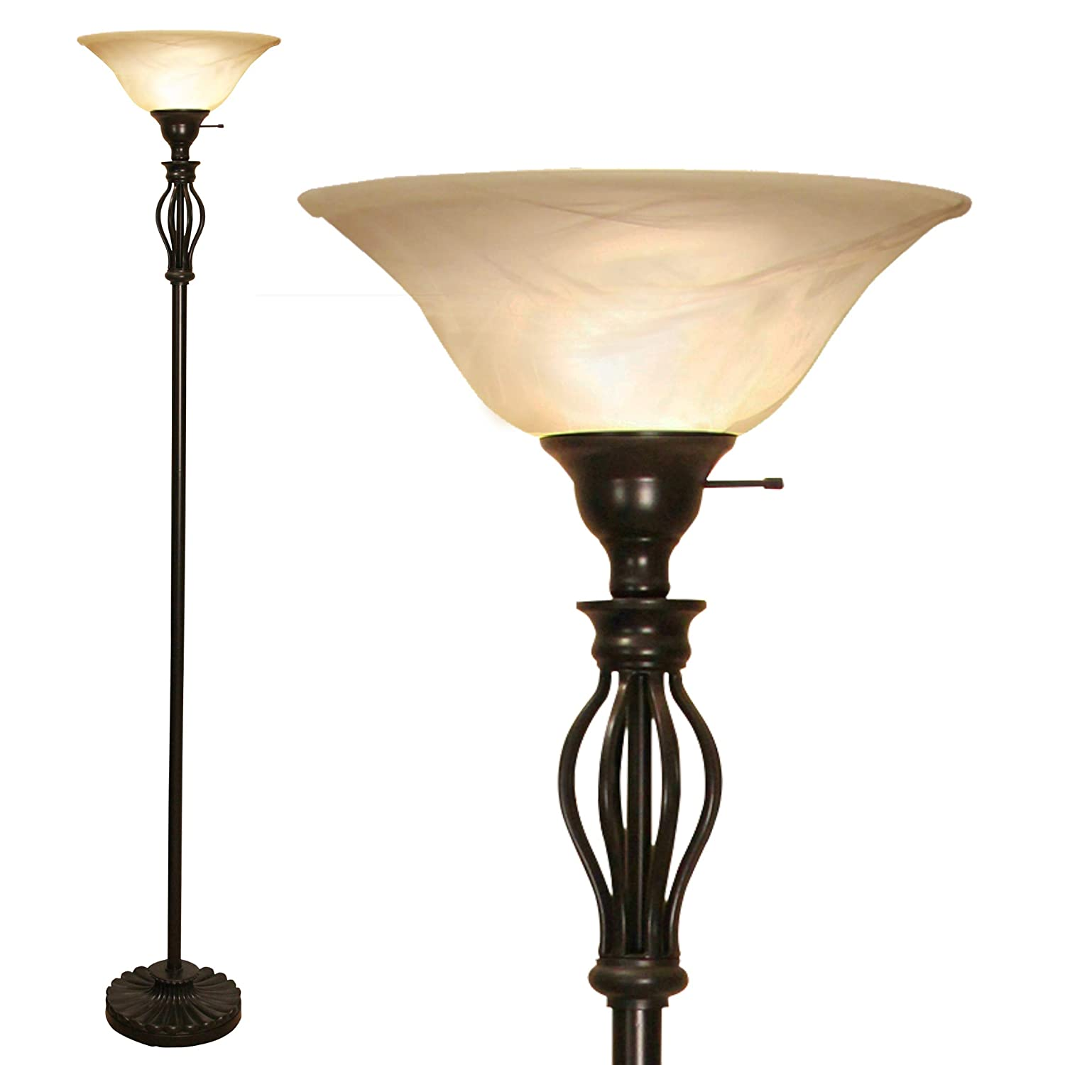 "Light Accents Bronze Floor Lamp - Traditional Iron Scrollwork Standing Bright Pole Light with Alabaster Glass Bowl Shade – Torchiere 70"" Tall- Bronze"