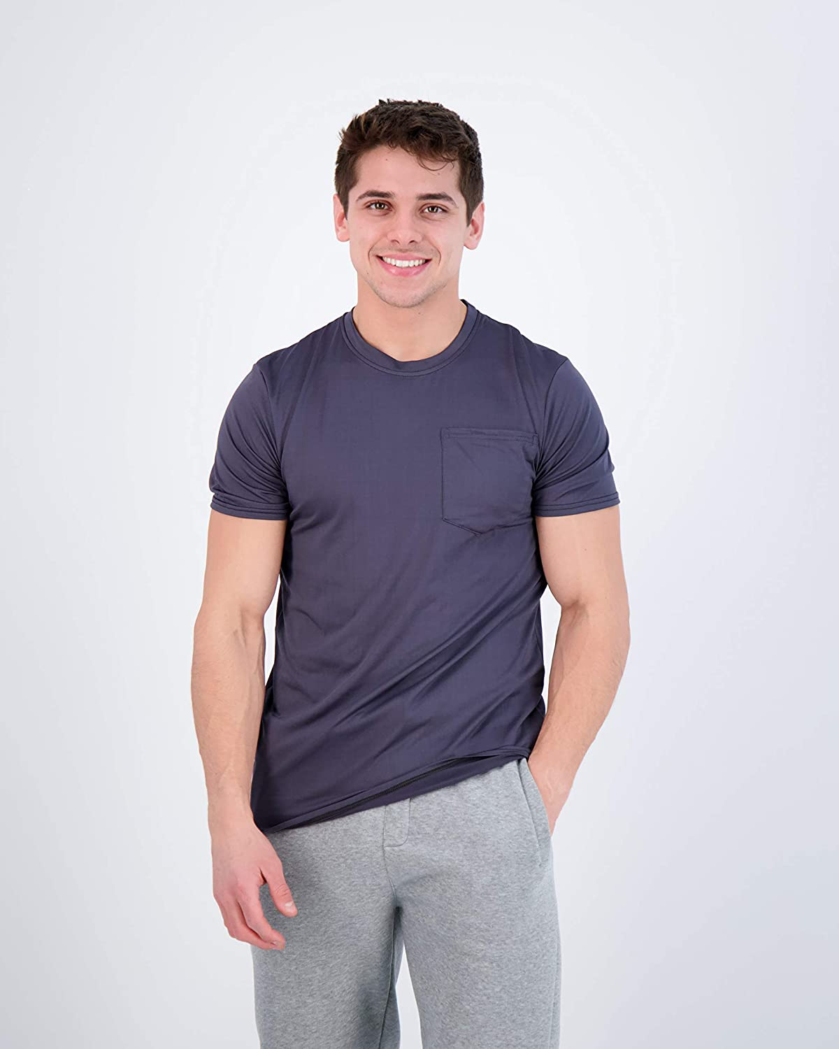 5-Pack: Mens Dry-Fit Moisture Wicking Active Athletic Performance Short Sleeve Crew T-Shirts with Pocket at  Men's Clothing store