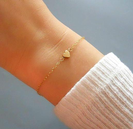 995a934ff74 Amazon.com: Handmade Layered Thin Gold Heart Bracelet: Handmade