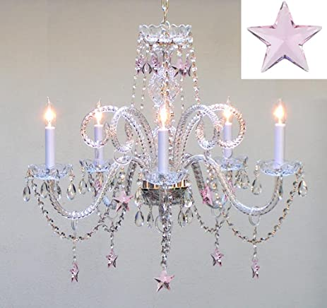 Empress Crystal(TM) Chandelier Lighting with Pink Crystal Stars H25 ...