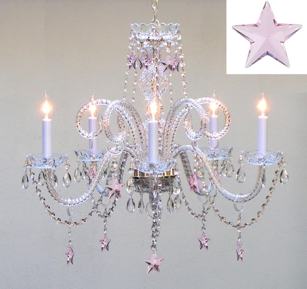 Empress Crystal(TM) Chandelier Lighting with Pink Crystal Stars H25'' X W24'' - Nursery, Kids, Girls Bedrooms, Kitchen, Etc!