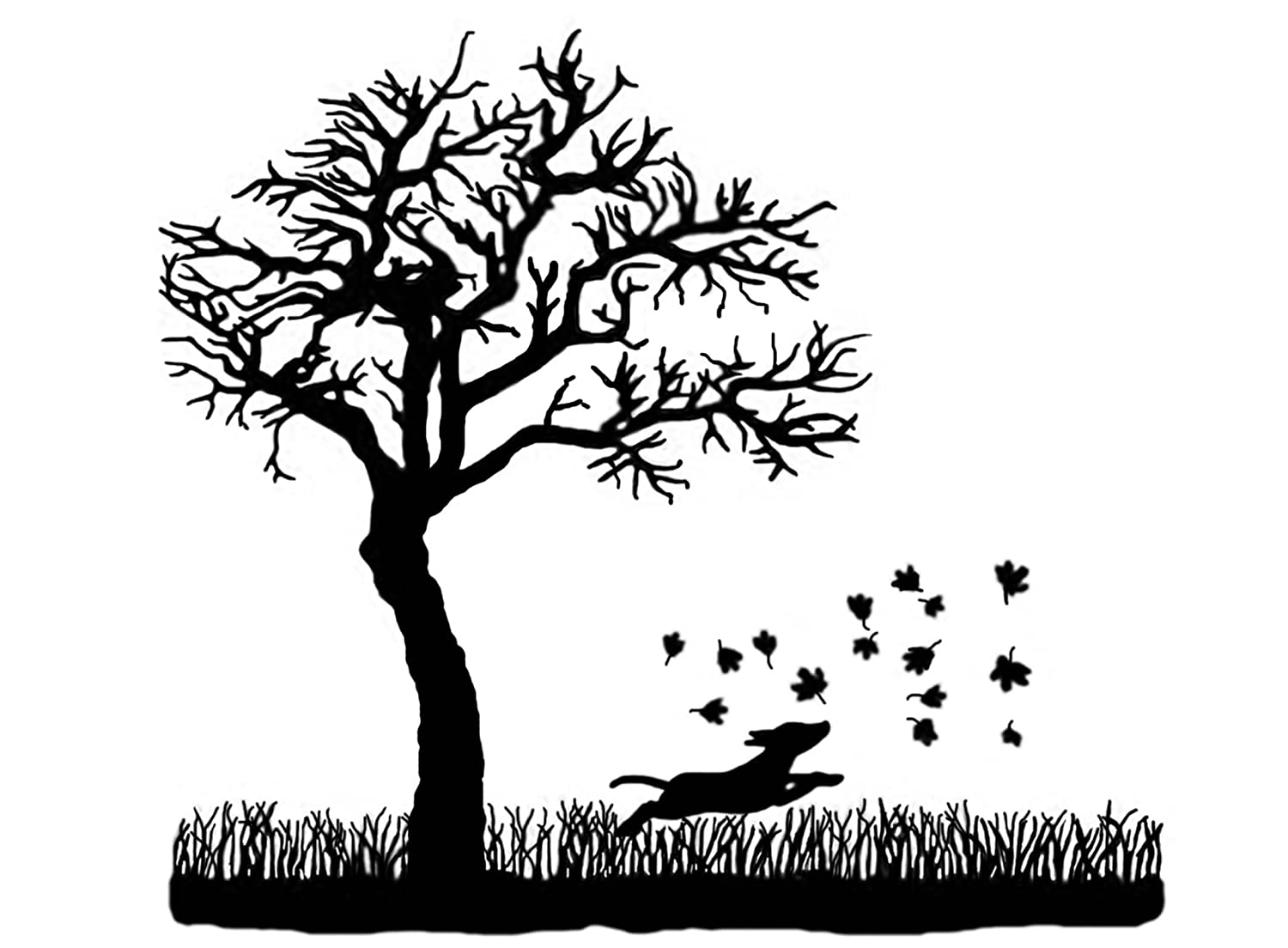 Tree Dog Chasing Leaves 4' - Black 15CC506 Fused Glass Decals Captive Decals