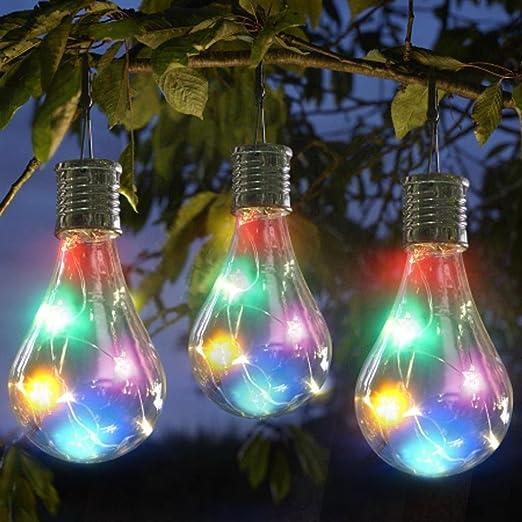 Nesix - Guirnalda de Luces solares Portátil con Bombillas Transparentes, Luces traseras para Patio, Luces Colgantes para Interiores y Exteriores, Ideal para Decoración de Bistro, Pérgola o Patio: Amazon.es: Jardín
