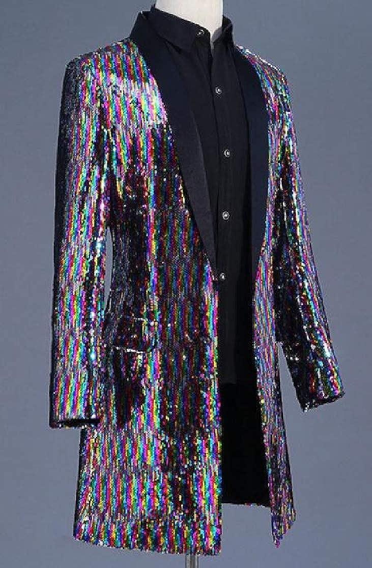 YUNY Mens Sequins Nightclub Cocktail Colorful Windbreaker Blazer AS1 S
