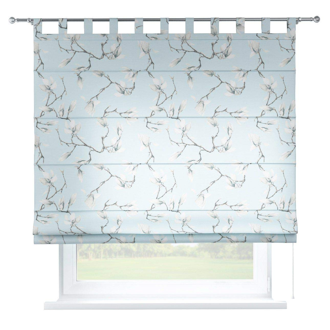 Dekoria Raffrollo Verona ohne Bohren Blickdicht Faltvorhang Raffgardine Wohnzimmer Schlafzimmer Kinderzimmer 160 × 170 cm blau Raffrollos auf Maß maßanfertigung möglich