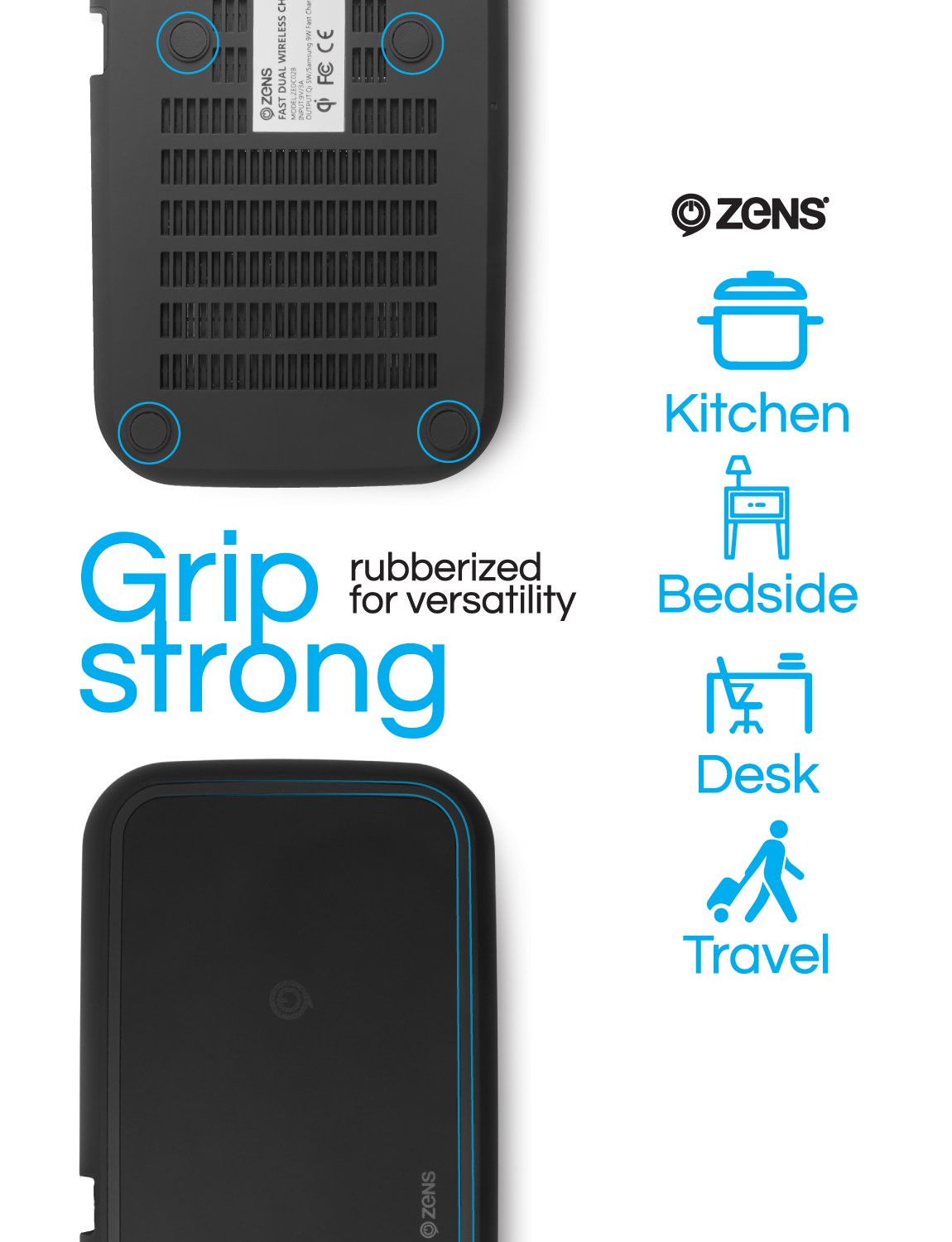 ZENS Wireless Charging Pad | Dual Qi Charger Pad with 2X 15 Watt Power Output | Compatible with Apple iPhone 8/8 Plus/X/XR/Xs Max, Samsung Galaxy S10 and Airpods 2 | Includes AC/DC Adapter | Black by ZENS (Image #7)