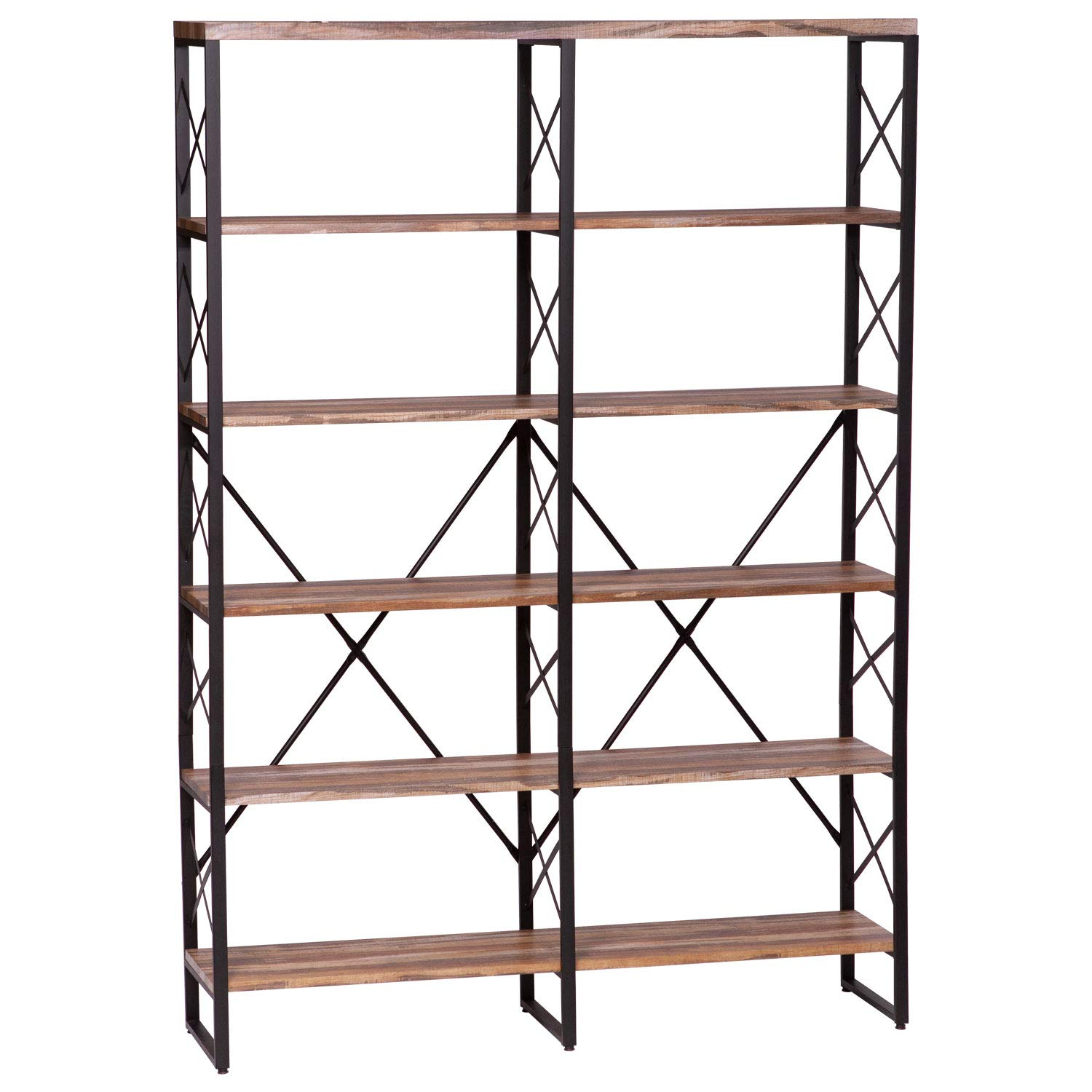 IRONCK Bookshelf, Double Wide 6-Tier 76'' H Open Bookcase Vintage Industrial Style Shelves Wood and Metal Bookshelves, Home, Office Furniture by IRONCK