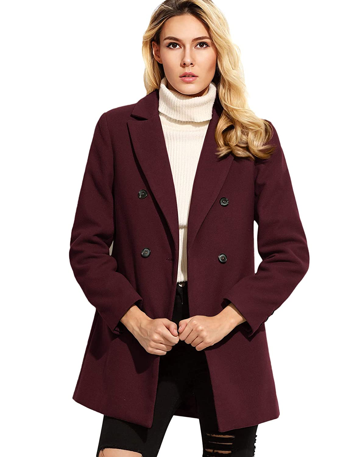 MAKEMECHIC Womens Basic Double Breasted Notched Collar Trench Coat Casual Jacket Overcoat