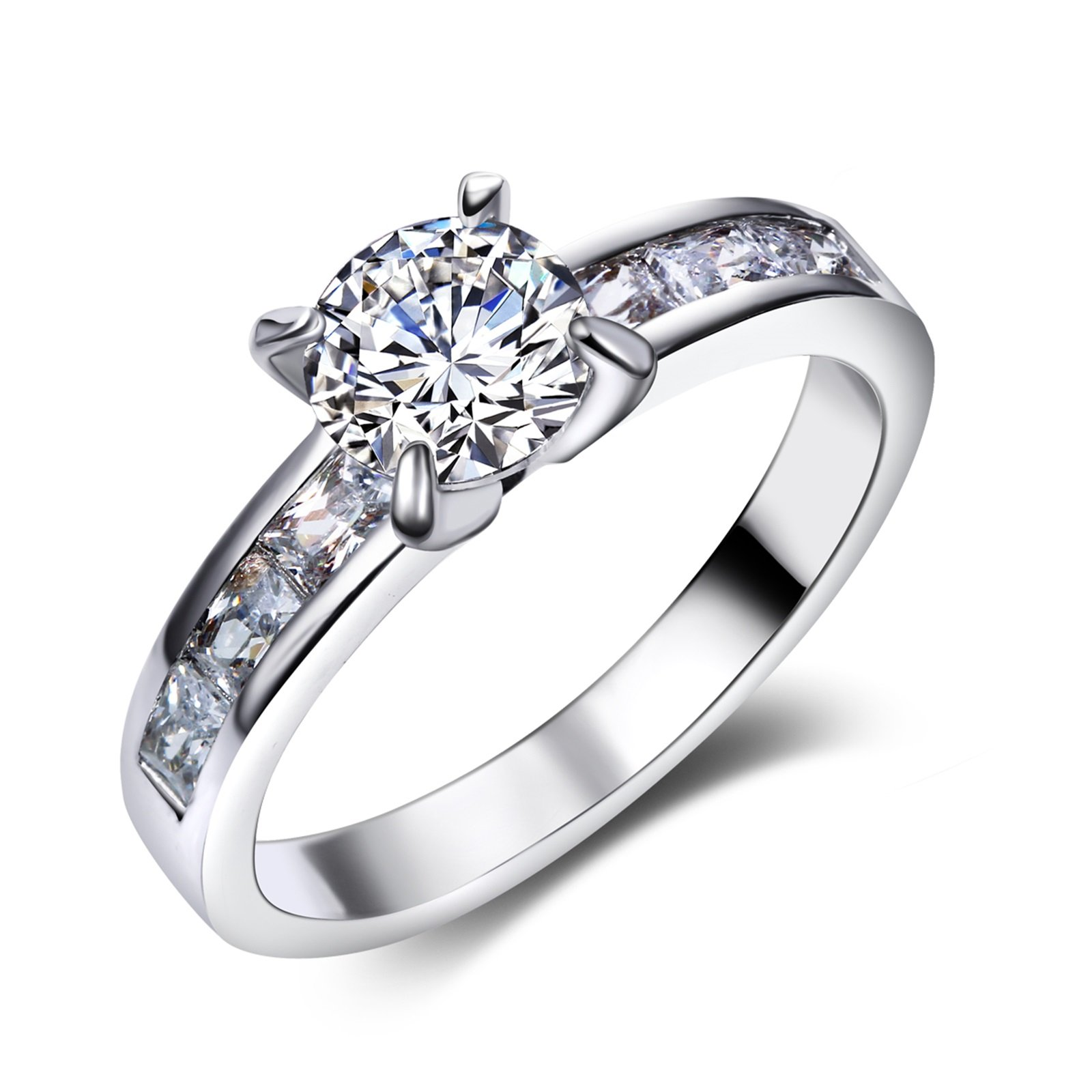 Beydodo Silver Plated Rings for Women Jewelry Size 6 Solitaire Ring 4-prong Setting Round Cut Crystal