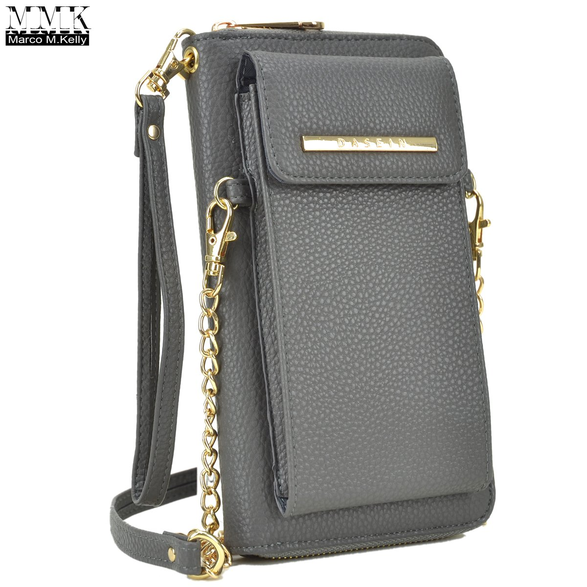 MMK Collection Easy-To-Carry Small Size Women Crossbody Wallet, Organizer pouch, with Phone case and Detachable Chain Strap(3020) (MA-3020-GY)