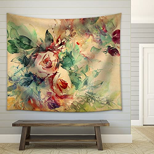 wall26 – Watercolor Roses Painted on Beige Tone Paper – Fabric Wall Tapestry Home Decor – 68×80 inches