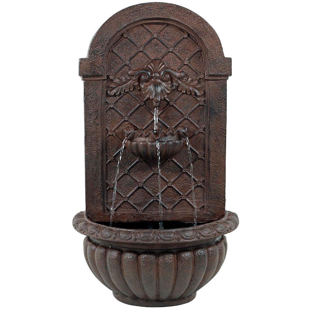 Sunnydaze Venetian Outdoor Wall Water Fountain, Includes Electric Submersible Pump, Iron Finish, 27 Inch by Sunnydaze Decor