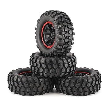 Ballylelly RC Car Wheels Universal 4pcs Escala 1/10 de Off Road Buggy Tires 6