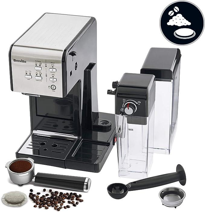 Breville PrimaLatte II VCF108X-01 VFC108X-01 - Cafetera de espresso (19 bares, para café en polvo o monodosis), color negro y plateado: Amazon.es: Hogar