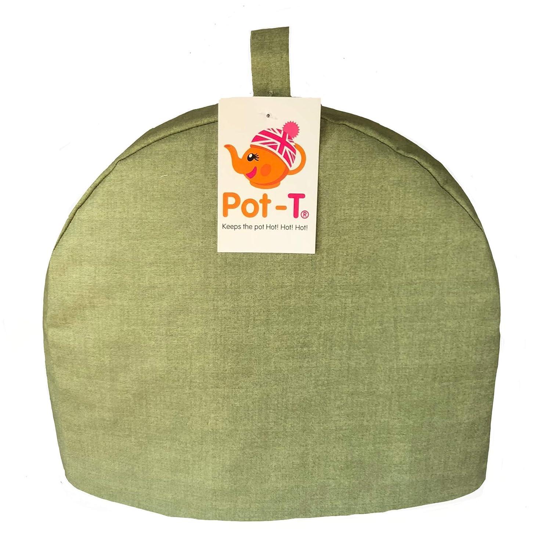 Pot-T INSULATED Tea Cosy Cozy in Sage Green Linen Texture Look (Mini (16.5cm(h) x 8.5cm(d) x 20cm(l))) Coolcozycovers LTD