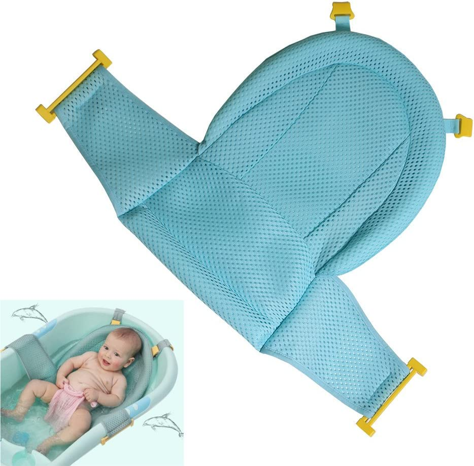 Adjustable Bath Seat Support Net Non-Slip Baby Bath Seat Sling Hammock Comfortable Baby Bath Mesh Accessories Safety for Bathtub Infant Newborn Bathing Blue Komake Baby Bath Support
