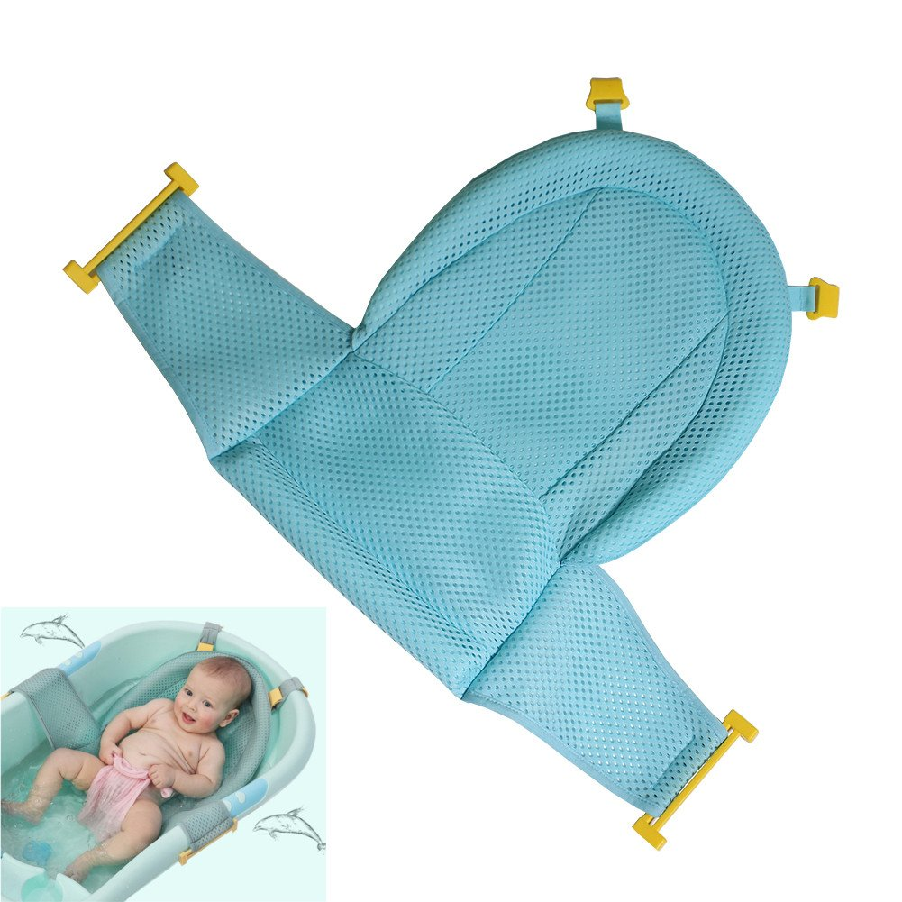 Autbye Baby Bath Support Seat, Newborn Shower Mesh For bathtub, 2018 New Style Adjustable Comfortable Non-Slip Bath Seat For Infant 0-3 Years (Green)